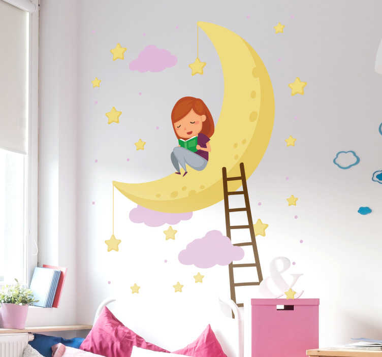 TenStickers. Night Sky Decorative Wall Sticker. Beautiful Night Sky wall illustration sticker. One of our many stickers perfect for children´s bedrooms. +10,000 satisfied customers.