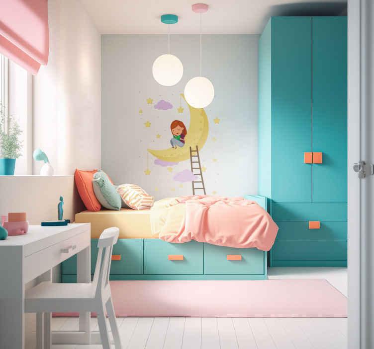 TenStickers. Muursticker maan met meisje. Een muursticker van een meisje die op een maan zit, daarbij staat een lader waarop zij geklommen is. +10.000 tevreden klanten.