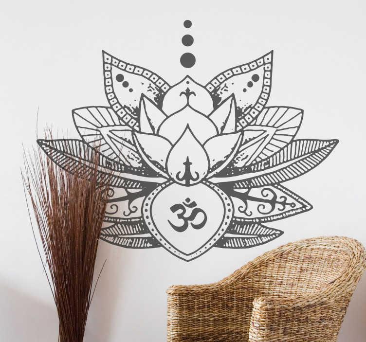TenStickers. Wandtattoo Lotusblume. Tolle Wandtattoo mit einer detailierten Lotusblume und dem buddhistischen Zeichen OM. Bringt Balance und Einklang in Ihr Wonhzimmer.