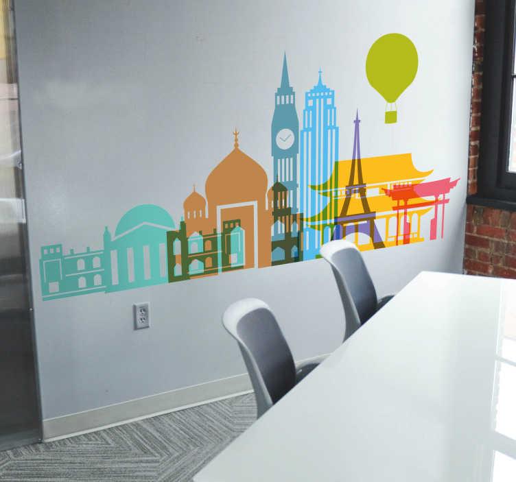 TenStickers. Adesivo profilo luoghi famosi. India, Londra, New York, Parigi, Tokyo, Cina... visita i posti più emblematici del pianeta con lo sguardo con questo adesivo murale.