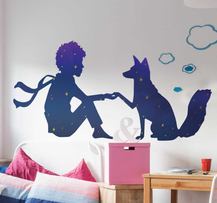 TenStickers. Little Prince night fairy tale wall decal. Exclusive children's wall sticker with the drawing of the protagonist of the famous short novel by Antoine de Saint-Exupéry.