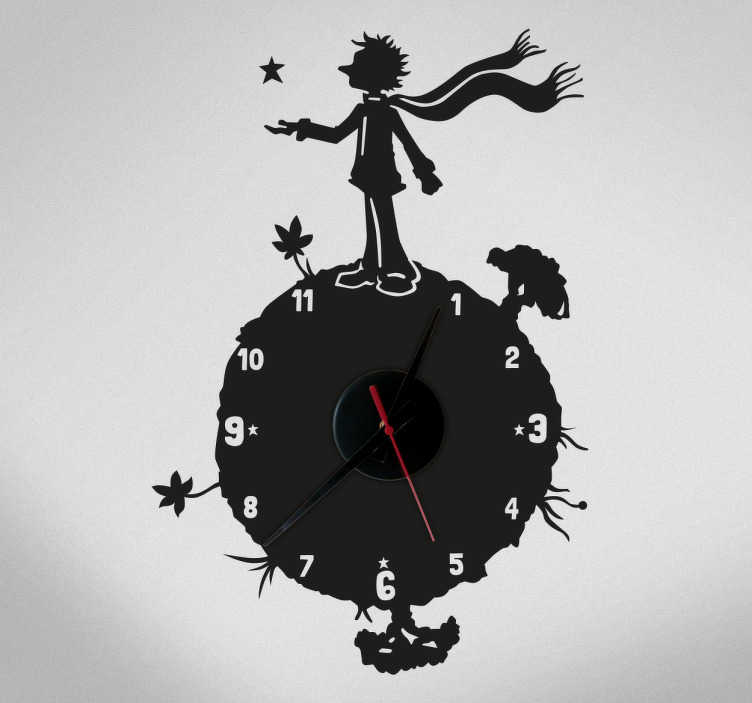 TenStickers. Kloksticker man op aarde. Een muursticker van een klok van een man van een aarde en dat allemaal bij elkaar! De man staat op de aarde, en wijst naar een ster.