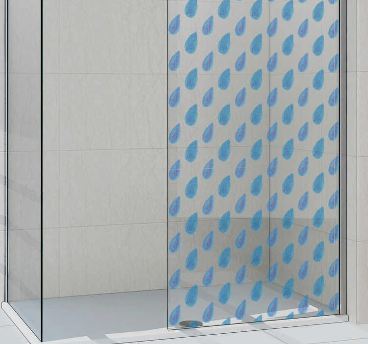 TenStickers. Dusche Aufkleber Wassertropfen. Praktischer Aufkleber für die Dusche mit blauen Wassertropfen. Dient als Dekoration und sorgt für ein wenig Privatsphäre.