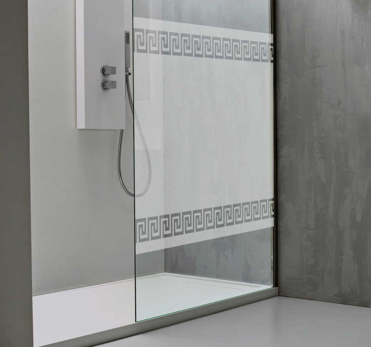 TENSTICKERS. ギリシャのパターンのシャワーステッカー. あなたの家のインテリアにスタイリッシュでユニークな仕上げのタッチを与えるために、この半透明のバスルームのデカールは完璧です。あなたのシャワーでプライバシーを提供するエレガントなギリシャの蛇行パターンのシャワーステッカー。
