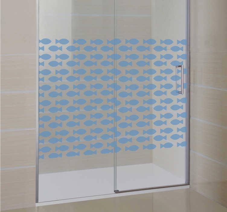 TenStickers. sticker visjes douchwand. Deze badkamer sticker is een van de stickers uit onze badkamer collectie. De sticker heeft een doorzichtig visjes patroon