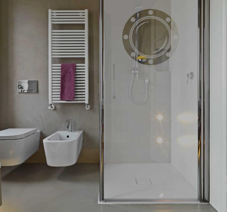 TenVinilo. Vinilo mampara ojo de buey. Vinilos para duchas con el que podrás recrear un ambiente marinero en tu hogar y preservar intimidad en tu baño diario.