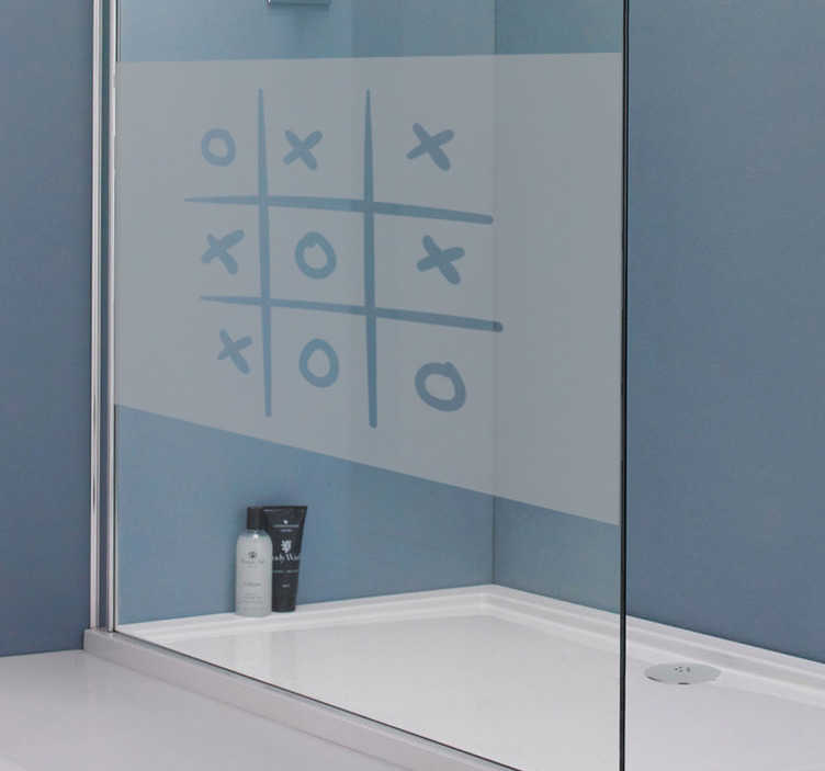 TenStickers. Tic tac toe game shower sticker. Shower screen sticker with a recreation of the classic game of tic tac toe, ideal for decorating the crystals of your shower door.