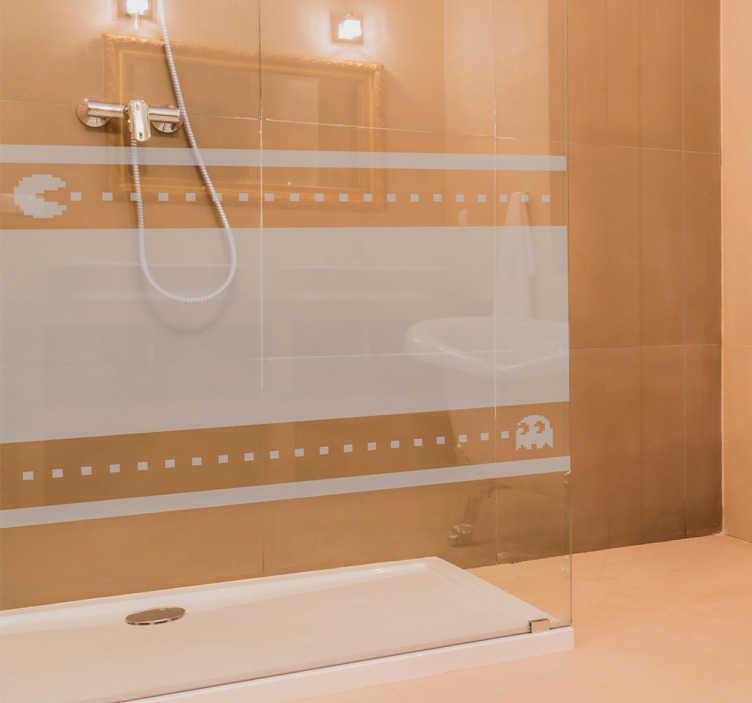 TenStickers. Autocolante decorativo duche pacman. Autocolante decorativo duche pacman. Decore o vidro do seu duche com este vinil autocolante de qualidade e por um preço atrativo.