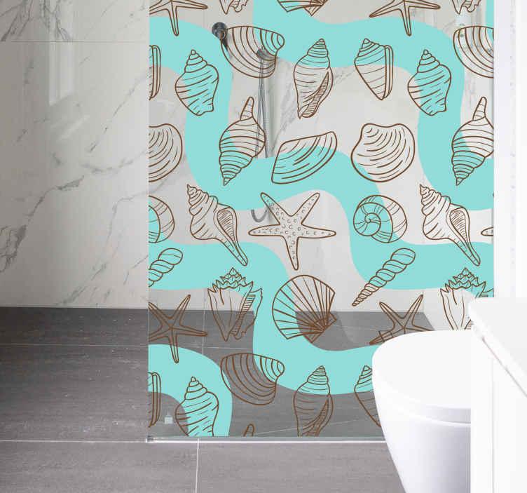 TenVinilo. Vinilo mampara patron conchas. Vinilo ducha para personalizar con el que podrás mantener la intimidad en tu baño diario y además decorar el lavabo.