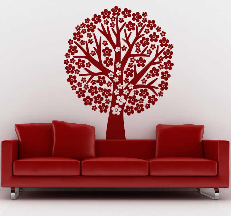 TenVinilo. Vinilo decorativo árbol floral. Pegatina adhesiva monocolor para pared formado por un gran árbol primaveral lleno de flores de diferentes tamaños. +50 Colores Disponibles.