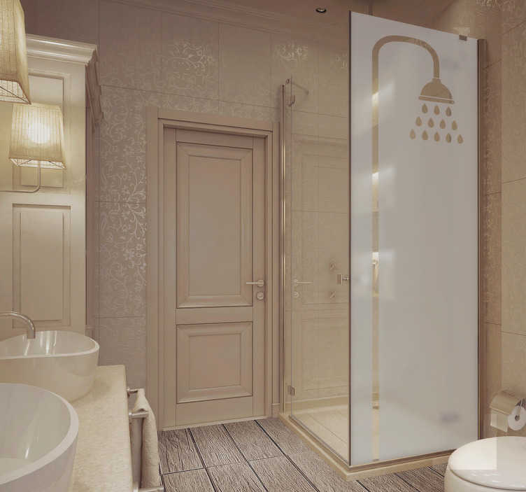 TenStickers. badkamer sticker douchekop. Deze badkamer sticker is een van de stickers uit onze badkamer collectie. De sticker heeft een doorzichtig douche patroon