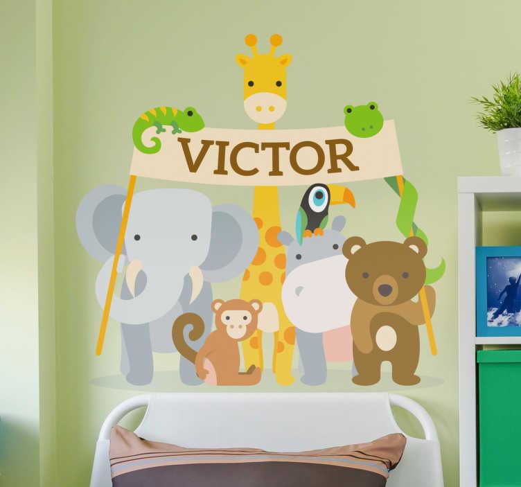 TenStickers. Muursticker dierentuin personliseerbaar. Een muursticker die alle dierenvrienden uit de dierentuin samenbrengt, speciaal om een doek vast te houden met de naam naar jou keuzen!