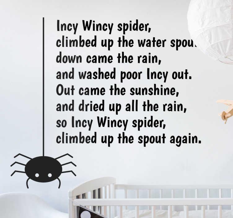 TENSTICKERS. Incy wincy spider子供用ウォールステッカー. あなたの子供の寝室のために楽しくて創造的な童decorativeの装飾的な壁のステッカーを探しているなら、このインシーウィンシースパイダーは理想的です!