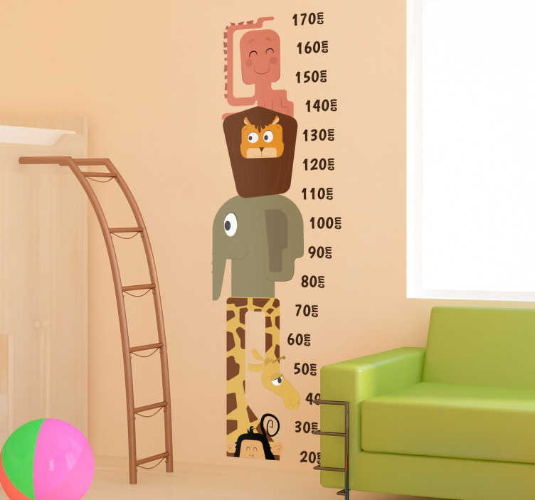 TenStickers. Naklejka miarka - Zabawne zwierzęta. Naklejka na ścianę dla dzieci, któa jednocześnie jest miarką wzrostu.