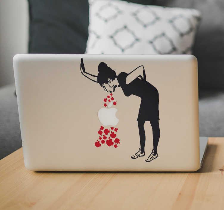 TenStickers. Naklejka na laptopa - Banksy Chora z miłości. Naklejka na laptopa przedstawiająca obrazek autorstwa Banksy - kobiete chorą z miłości.