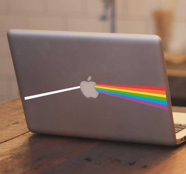 "TenStickers. Apple side of the moon laptop skin. Laptop sticker specially designed for MacBook devices, the iconic image of one of the most famous records of  Pink Floyd, ""The Dark Side Of The Moon""."