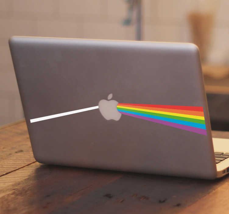 TenVinilo. Vinilo portátil Apple side of the moon. Pegatinas para portátil, especialmente pensadas para dispositivos MacBook, con una representación de un prisma y el arco iris de Pink Floyd.