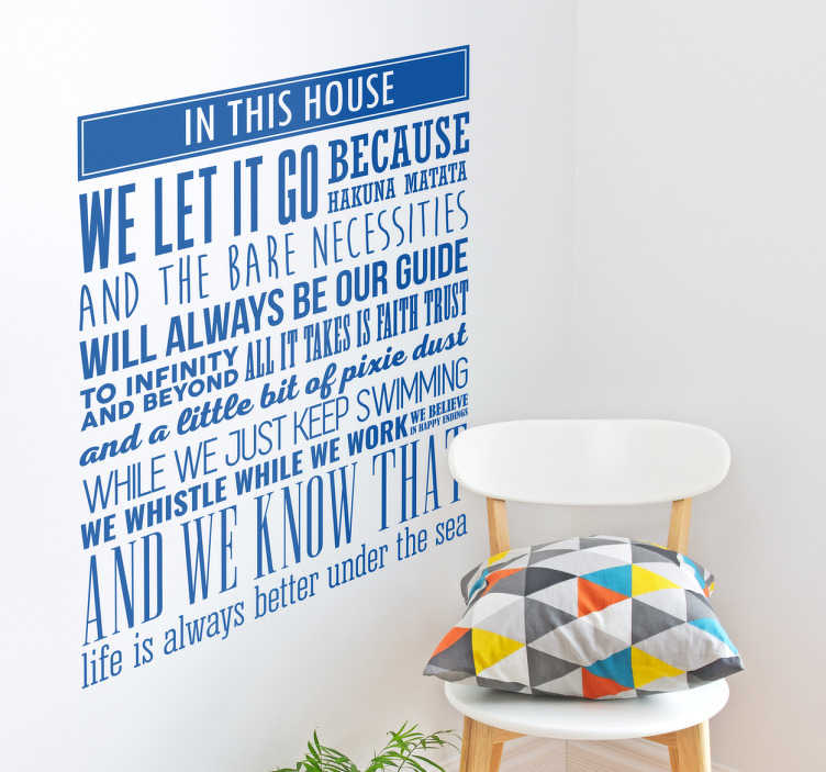 TenStickers. Disney Quotes Wall Sticker. This Disney wall sticker brings the magic of Disney to your home. Decorate your wall with quotes from your favourite Disney films!
