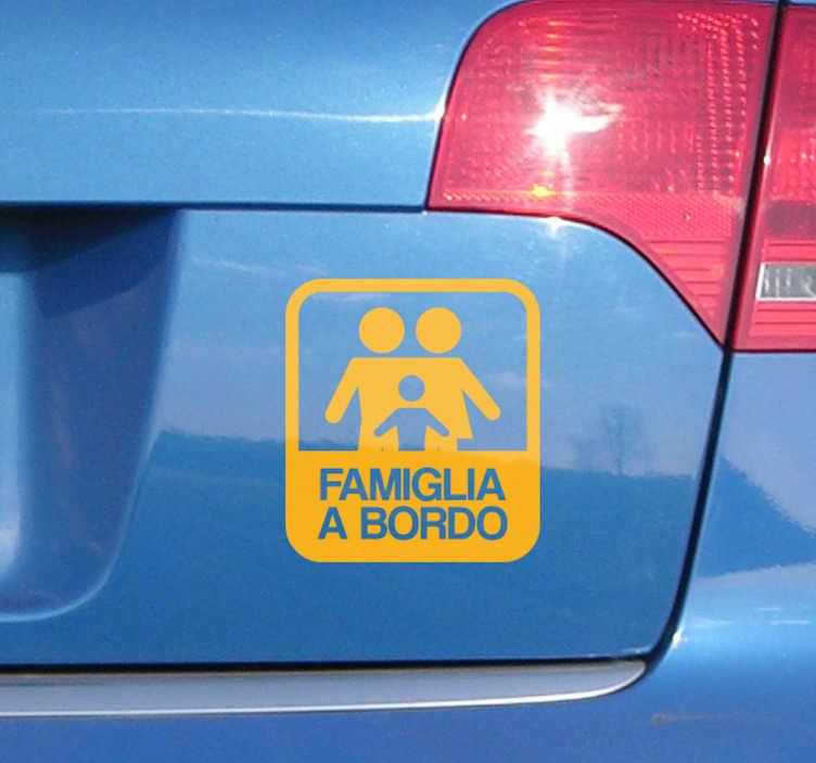 TenStickers. Adesivo famiglia a bordo. Fa' sapere con questo adesivo al resto delle automobili che moderino la velocità.