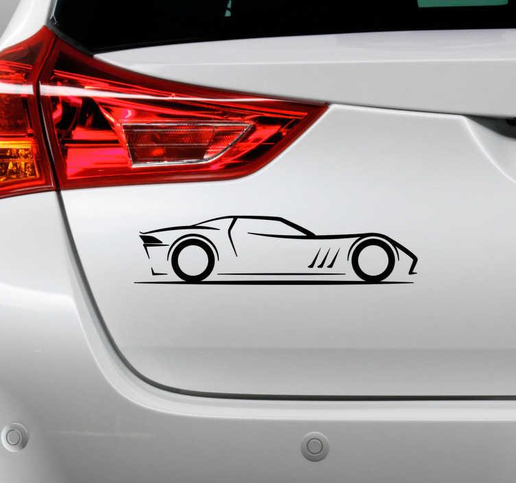TenStickers. Autosticker silhouette. Een geweldige auto silhouette sticker die je kunt aanbrengen op je auto om te laten zien dat je hier van houdt. Een prachtige race auto.