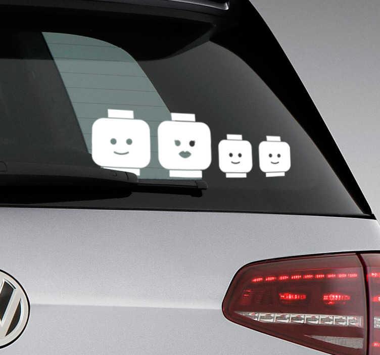 TenVinilo. Sticker familia lego para coche. Vinilos para coches con una representación de distintos miembros de la familia, basados en tu juego favorito de pequeño.