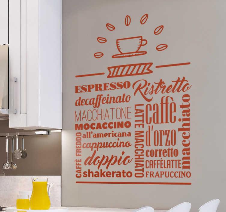 TenStickers. Adesivo cafe italiano. Adesivo murale con il testo di vari tipi di caffè: espresso, decaffeinato, macchiato, cappuccino, doppio...