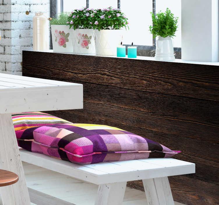 TenStickers. Naklejka ścienna imitująca drewno. Wspaniała naklejka ścienna lub naklejka na meble, ktora imituje ciemne, drewniane panele.