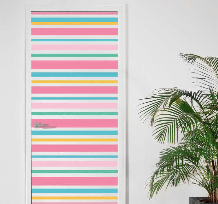 TenStickers. Deursticker strepen. Decoreer de deuren in uw woning met deze deursticker die strepen in pastel kleuren afbeeldt. Afmetingen aanpasbaar. Dagelijkse kortingen.