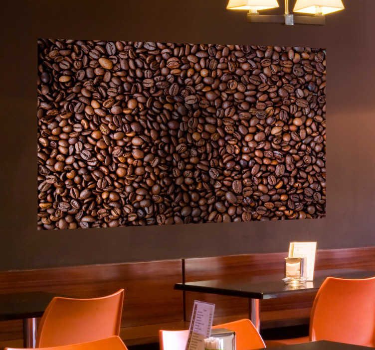 TenStickers. Naklejka - Ziarna Kawy. Naklejka przypominająca fototapetę, ze wzorem ziaren kawy. Idealna ozdoba do kuchni każdego kawosza.