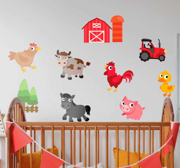 TenStickers. Muursticker boerderij dieren. Geweldige sticker van een boerderij met daarbij de verschillende dieren. Deze sticker illustreert een kleurrijke boerderij met verschillende dieren.