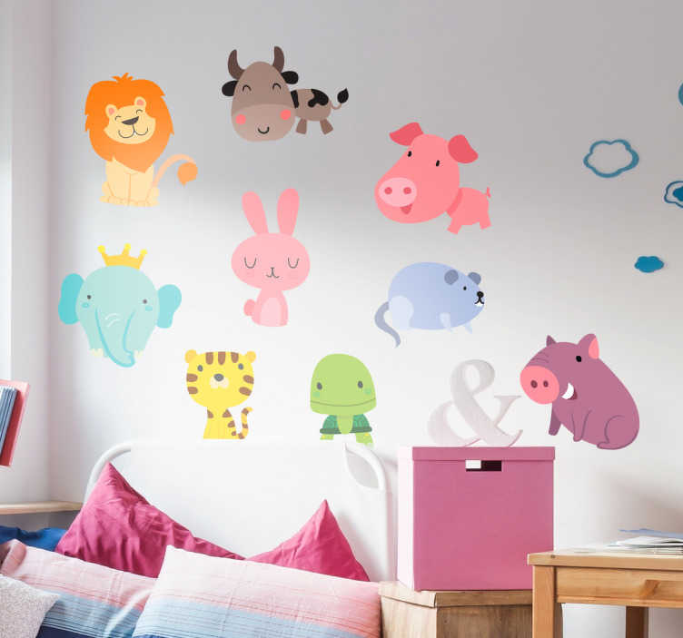 TenStickers. Naklejki dla dzieci - kolorowe zwierzęta. Zestaw 9ciu naklejek z postaciami różnych zwierząt. Naklejki są kolorowe i mają wygląd przyjazny dzieciom.