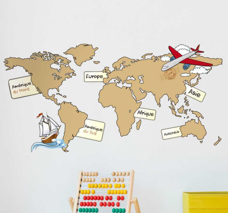 TenVinilo. Vinilo habitación infantil mapamundi francés. Fantástico mapamundi silueteado en tonos marrones con el nombre en francés de los diferentes continentes. +50 Colores Disponibles.