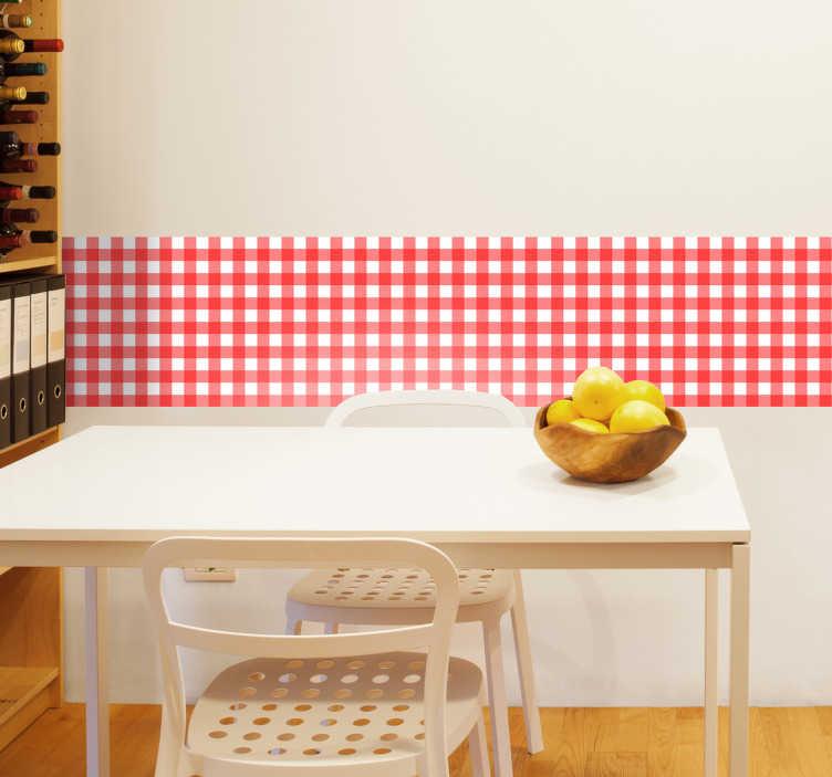 TenVinilo. Cenefa adhesiva mantel de mesa. Cenefa adhesiva basada en las texturas de cuadros de los manteles de toda la vida, vinilo decorativo ideal para decorar tu cocina.
