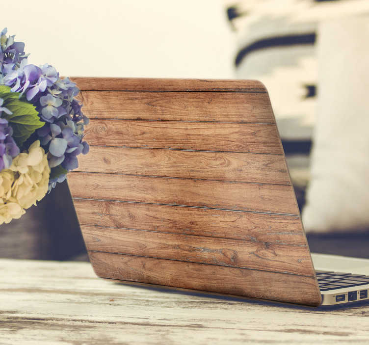 TenStickers. Wooden Planks Laptop Sticker. Wood style vinyl laptop skin to add a rustic and unique look to your laptop or MacBook. Personalise your device with this wooden laptop sticker showing panels of wood neatly aligned to create a simple but stylish design that makes it stand out from the rest.