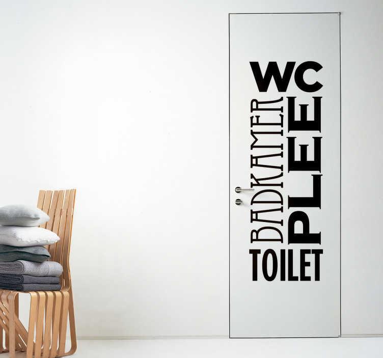 TenStickers. Deursticker WC. Een deursticker van een combinatie van verschillende termen voor toilet, zoals wc, badkamer en plee.