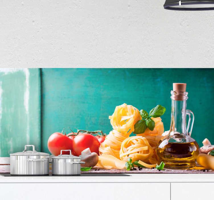 TenStickers. Pellicola adesiva ingredienti pasta. Adesivi murali cucina con una fotografia di elementi caratteristici della dieta mediterranea ed il cibo italiano. Olio di oliva, pomodori, pasta...