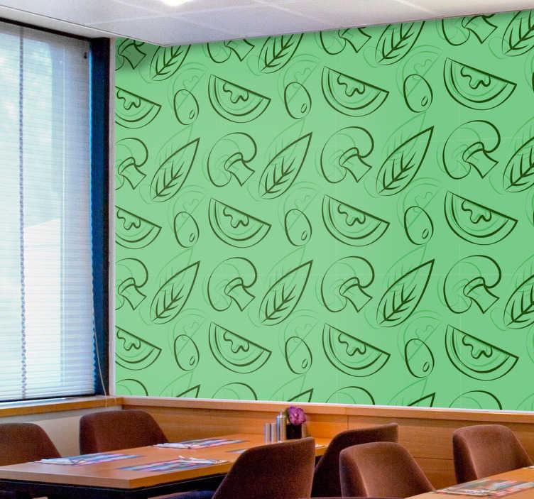 TenStickers. Sticker motif ingrédients pizza. Vous tenez une pizzeria et avez envie de décorer vos murs? Voici le sticker qu'il vous faut. Il représente les principaux ingrédients d'une pizza.