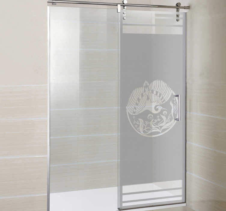 TenVinilo. Vinilo mampara ducha pavo real. Vinilos para ducha con un elegante motivo basado en el estilo Art Nouveau o modernista, con la representación de una ave exótica.