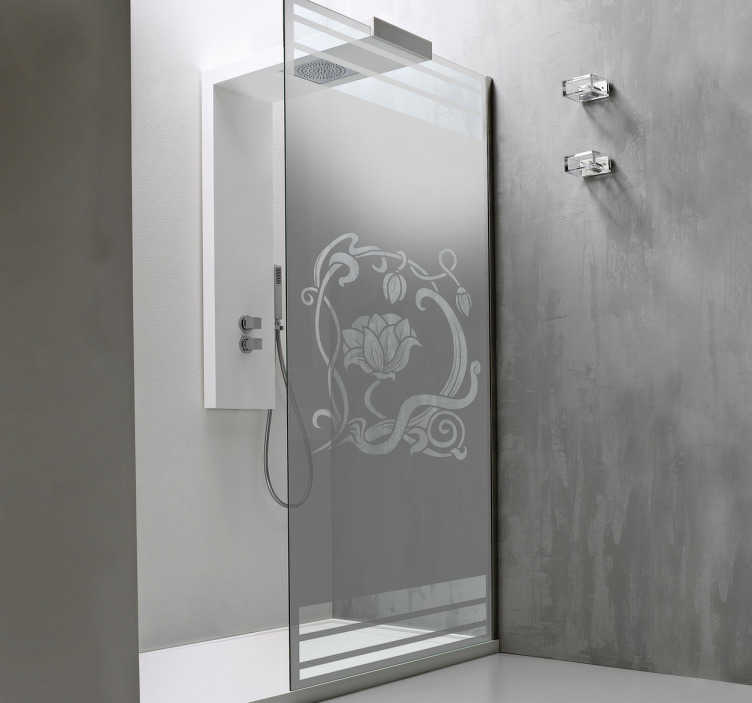 TenVinilo. Vinilo mampara de ducha Art Nouveau. Vinilos para mampara de ducha de estilo elegante y modernista, con una representación floral.