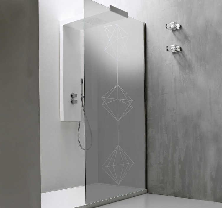 Tenstickers. Geometrinen Tarra. Geometrinen tarra, joka sopii kotiin ja yrityksiin. Ideaalinen tarra kylpyhuoneeseen, joka sopii täydellisesti suihkun lasioveen!
