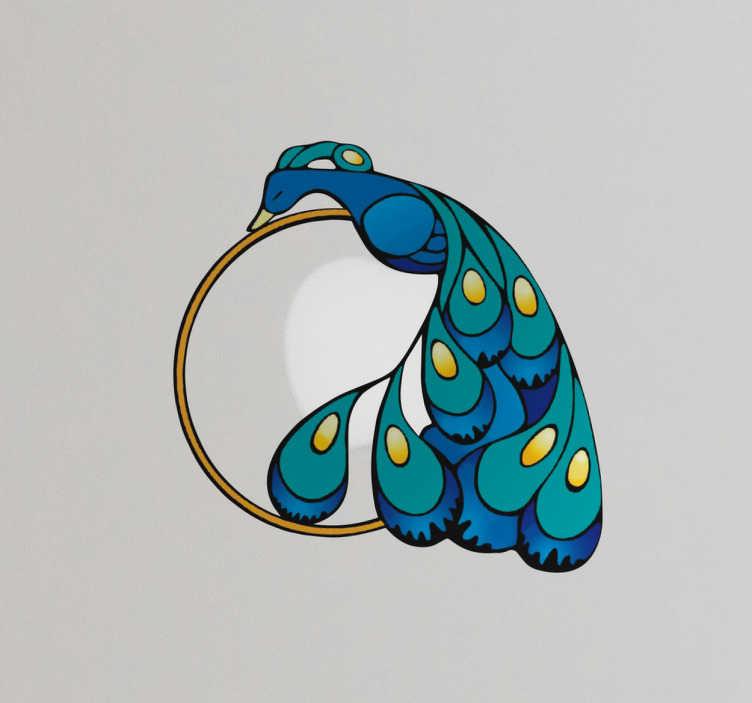 TenStickers. Laptopaufkleber Pfau. Schöner Laptopaufkleber mit einem Pfau der sich mit seinen Federn und einem Kreis um Ihr Laptop Logo, wie zum Beispiel Apple, schmiegt.