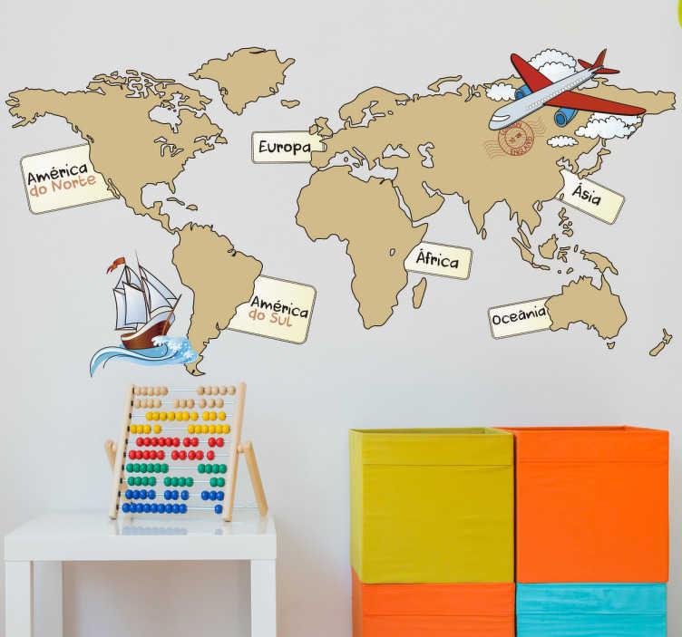 TenStickers. Vinil decorativo infantil mapa mundo continentes. Viajar, explorar, voar, navegar. Vinil decorativo infantil de um atlas marcando os sete continentes que compõem o planeta terra.
