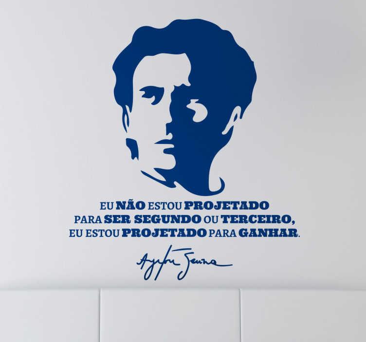 TenStickers. Vinil Decorativo Para Ganhar Ayrton Senna. Vinil decorativo de texto e retrato de um dos melhores pilotos de todos os tempo, o brasileiro Ayrton Senna, onde refere a frase motivadora.