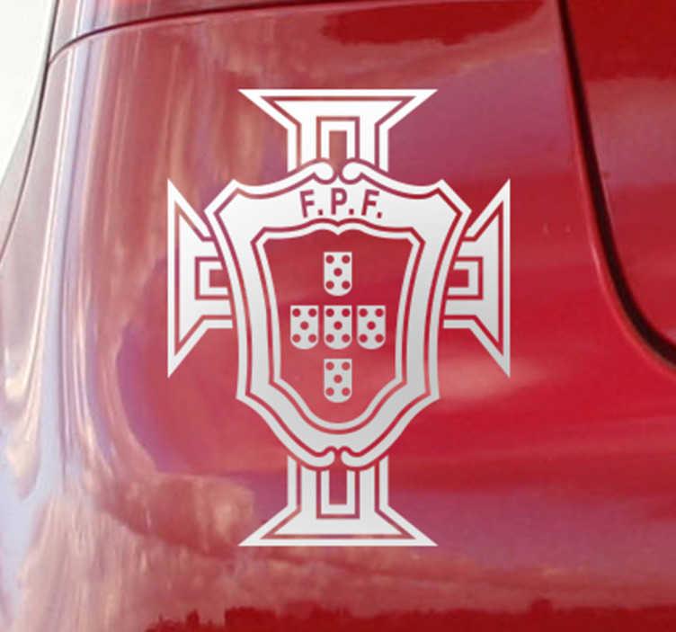 TenStickers. 포르투갈 축구 연맹 오토바이 tiktiker. 모든 차량 표면을 장식하는 포르투갈 축구 연합의 자동차 비닐 스티커. 제품은 필요한 모든 크기로 제공됩니다.