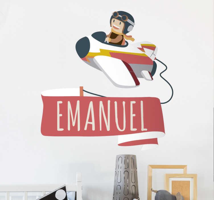 TenStickers. Vinil Infantil Avião Mensagem Personalizável. Vinil decorativo intantil de parede personalizável, avião divertido com mensagem onde pode personalizar com o nome do seu filho.