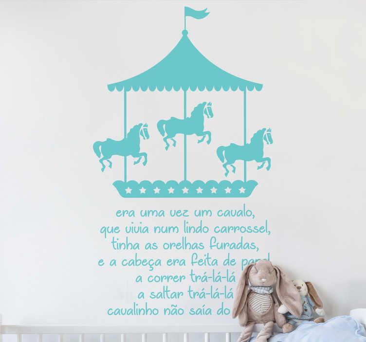 """TenStickers. Vinil Infantil Era Uma Vez Um Cavalo. Vinil infantil personalizado com o conto """"Era uma vez um cavalo"""", um vinil perfeito para decorar as paredes do quarto dos seus filhos."""