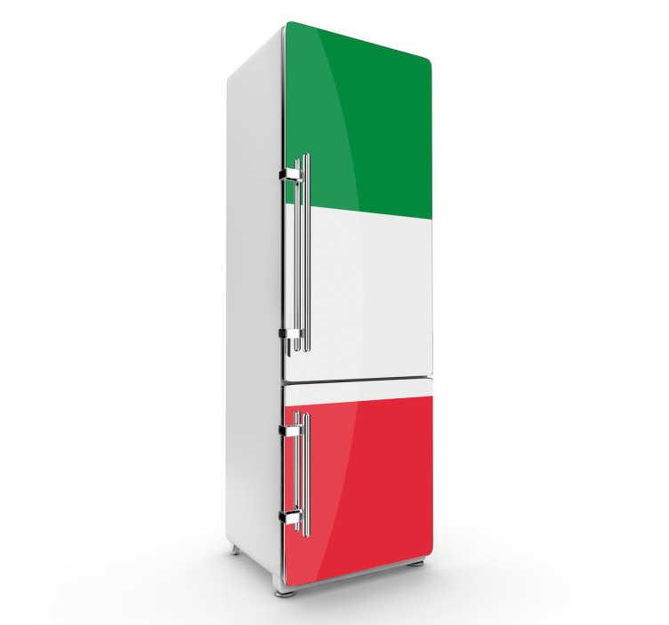 TenStickers. Sticker frigo drapeau Italie. Italien, Italienne et fier de l'être? Décorez de façon originale et colorée votre frigo avec ce sticker du drapeau de l'Italie.
