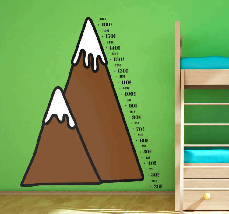 TenStickers. Muursticker groeimeter berg. Deze muursticker is de leukste manier om de groei van uw kind bij te houden, de sticker heeft de vorm van een berg.