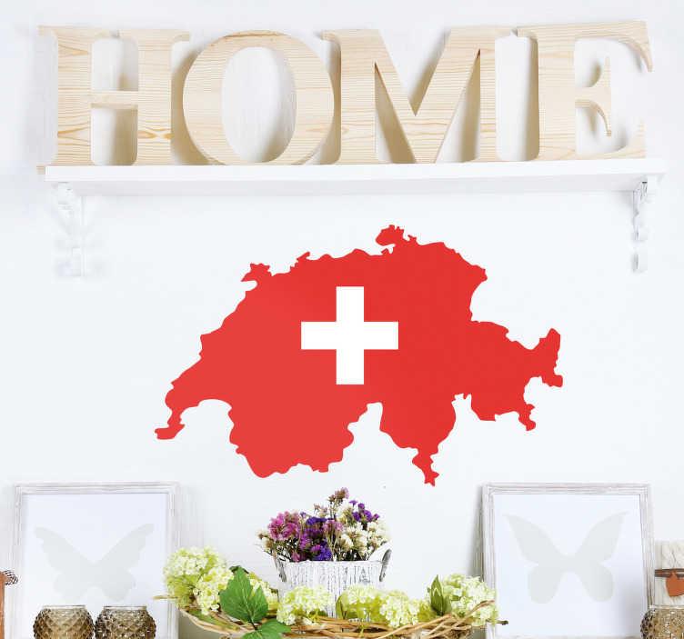 TenStickers. Sticker silhouette pays Suisse. Sticker de la silhouette du pays la Suisse en rouge avec la croix blanche du drapeau à l'intérieur. Idéal pour décorer votre chambre de façon colorée.