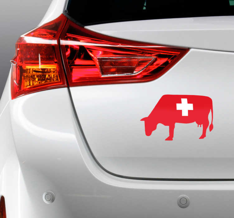 TenStickers. Cow Swiss Flag Car Decal. A car sticker showing a cow, with the background of the Swiss flag. A design that will allow you to stand out in the middle of all identical cars!